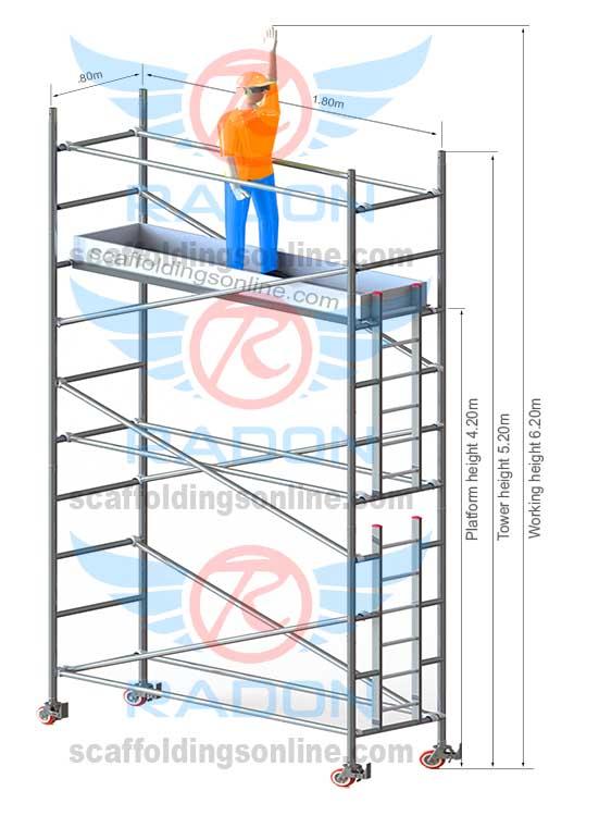 0.80m X 1.80m - Working Height  6.20m
