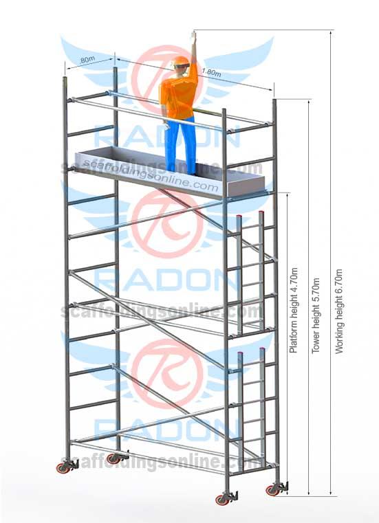0.80m X 1.80m - Working Height 6.70m