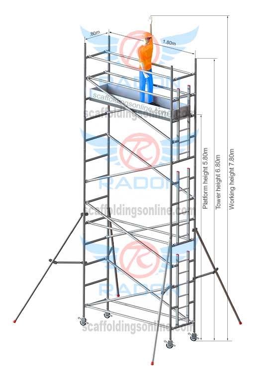 0.80m X 1.80m - Working Height 7.80m