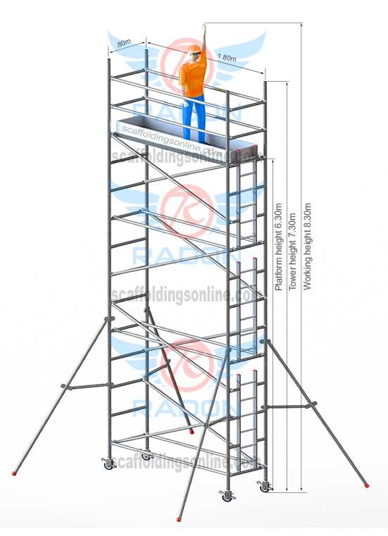 0.80m X 1.80m - Working Height 8.30m