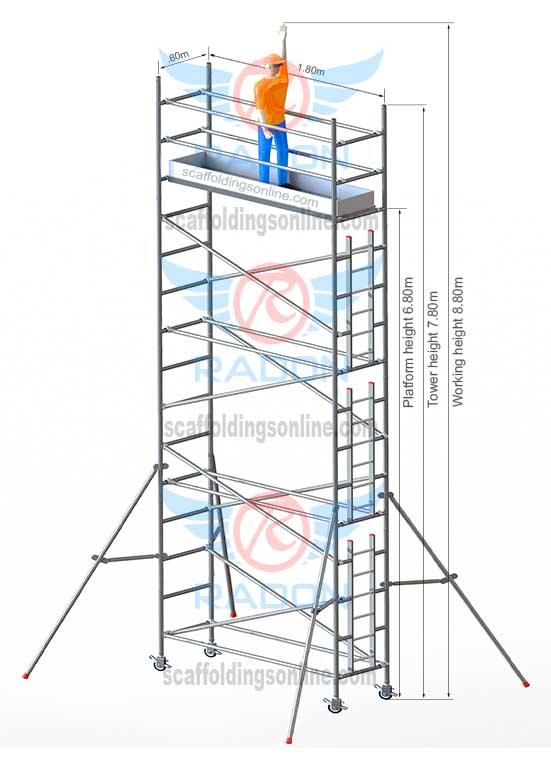 0.80m X 1.80m - Working Height 8.80m